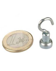 10 x Magnethaken Magnet mit Haken Ø 10 mm Neodym, Zink - Hält 2kg - Hakenmagnet