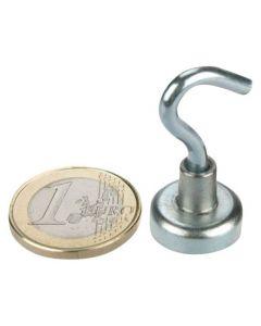10 x Magnethaken Magnet mit Haken Ø 16 mm Neodym, Zink - Hält 6kg – Hakenmagnet