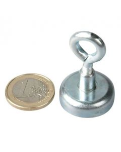Ösenmagnet / Magnet mit Öse Ø 25mm – Neodym (NdFeB) Zink - Haftkraft 22 kg