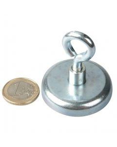Ösenmagnet / Magnet mit Öse Ø 42mm – Neodym (NdFeB) Zink - Haftkraft 68 kg