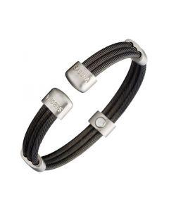 Magnetarmreif Magnet-Armspange Magnetarmband Trio Cable Black Satin S/M, L & XL