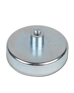 Flachgreifer Magnet Neodym Topfmagnet mit Gewindebuchse verzinkt Ø 6mm - Ø 32mm