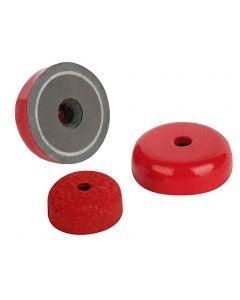 Flachgreifer Topfmagnet AlNiCo, rot Ø 19,1 - 38,1mm – mit Senkbohrung – bis 8kg