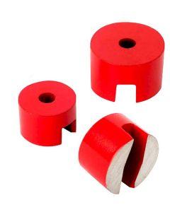 Hufeisenmagnet, zylindrisch AlNiCo rot lackiert - bis Ø 31,8mm - hält bis 6,6kg