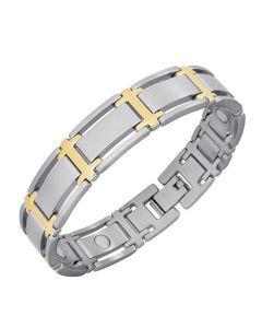 Magnetarmband Symmetry Duett Edelstahl, teilweise 18K Goldauflage, SmCo Magnete