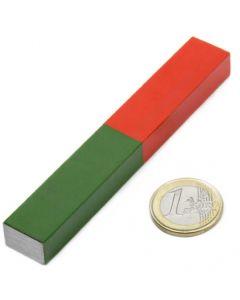 Quader Stabmagnet Schulmagnet AlNiCo 100 x 15 x 10mm rot-grün - Max. Temp 400°C