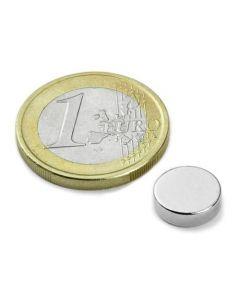 Scheibenmagnet / Rundmagnet Ø 10x 3mm – Neodym N45 (NdFeB) Nickel - hält 2,1 kg