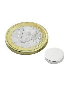 Scheibenmagnet / Rundmagnet Ø 10x 2mm – Neodym N35 (NdFeB) Nickel - hält 1,0 kg