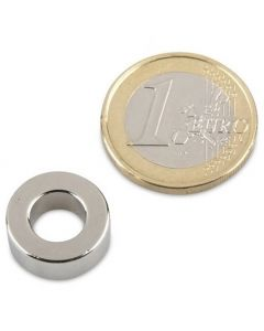 Ringmagnet Magnetring Ø 15/8 x 6 mm Neodym N42, Nickel - Haftkraft 5,0 Kg