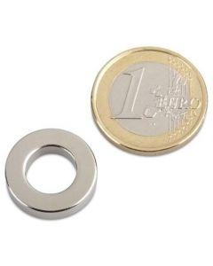 Ringmagnet Magnetring Ø 18/10 x 4 mm Neodym N40, Nickel - Haftkraft 2,5 Kg