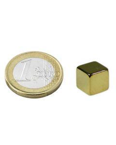 Würfelmagnet 8 x 8 x 8mm Neodym N45, Gold – Haftkraft 4,5 kg