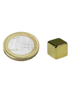 Magnetwürfel Würfelmagnet 12 x 12 x 12mm Neodym N48, Gold – hält 11 kg