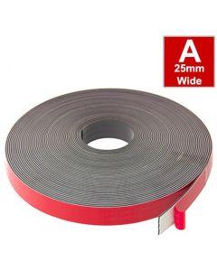 Magnetband Magnetstreifen selbstklebend, Schaumstoff-Kleber 25,4mm x 30m Typ A
