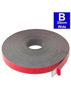Magnetband Magnetstreifen selbstklebend, Schaumstoff-Kleber 25,4mm x 30m Typ B
