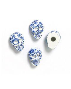 4 x Kühlschrankmagnete SKULL, blau-weiß 16 x 21 x 10mm - Magnete für Pinnwand