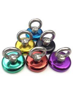 Ösenmagnet farbig, Magnet mit Öse Ø 32mm, Neodym - Haftkraft 32 kg - Magnetöse