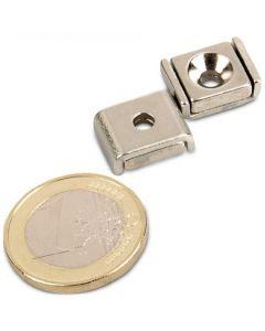 Flachleisten-Magnet Neodym  10 x 13,5 x 5 mm mit Bohrung und Senkung - hält 4 kg