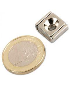 Flachleisten-Magnet Neodym  15 x 13,5 x 5 mm mit Bohrung und Senkung - hält 7 kg
