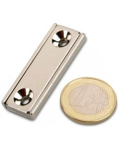 Flachleisten-Magnet Neodym  40 x 13,5 x 5 mm mit Bohrung und Senkung - hält 17kg