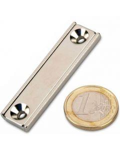 Flachleisten-Magnet Neodym  50 x 13,5 x 5 mm mit Bohrung und Senkung - hält 27kg