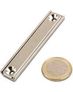 Flachleisten-Magnet Neodym  60 x 13,5 x 5 mm mit Bohrung und Senkung - hält 30kg