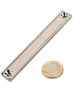 Flachleisten-Magnet Neodym 100 x 13,5 x 5 mm mit Bohrung und Senkung - hält 36kg