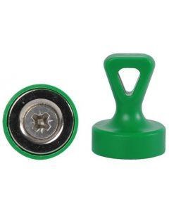 Griffmagnet mit Öse Neodym N35 - Ø 17 x 22 mm, grün - Haftkraft:1,6 kg-3,5 kg