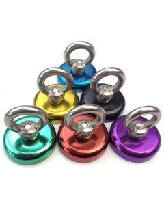 2 x Ösenmagnet farbig Magnet mit Öse - Ø 32 mm, Neodym (NdFeB) - Haftkraft 32kg