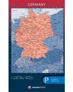 Deutschland Karte,SK magnethaftend laminiert, 10 Kegelmagnete weiss 62cm x 100cm