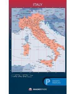Italien Karte, SK magnethaftend laminiert, 10 Kegelmagnete weiss 62 cm x 100 cm