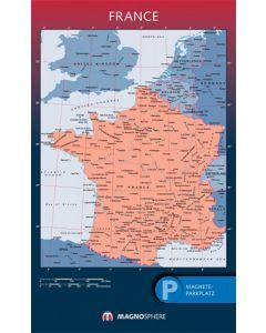 Frankreich Karte, SK magnethaftend laminiert, 10 Kegelmagnete weiss 62cm x 100cm
